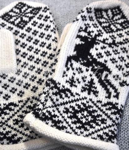 Вязаные варежки с оленями WWA19Аксессуары Варежки и перчатки