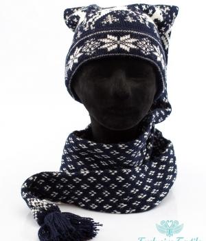 Комплект: шапка-шарф трансформер с оленями MWLC09Аксессуары Шапки
