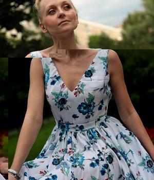 Дизайнерское летнее платье из хлопка PVT03Одежда Платья